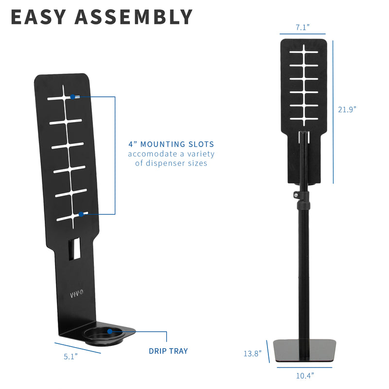 Black Height Adjustable Hand Sanitizer Stand