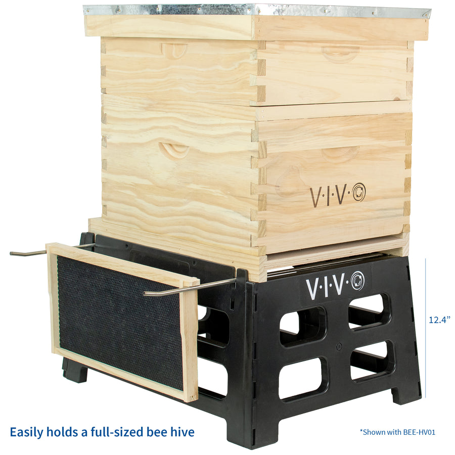 BEE-HVST<br><br>Black Plastic Bee Hive Stand | Beekeeping Hive Support Tool