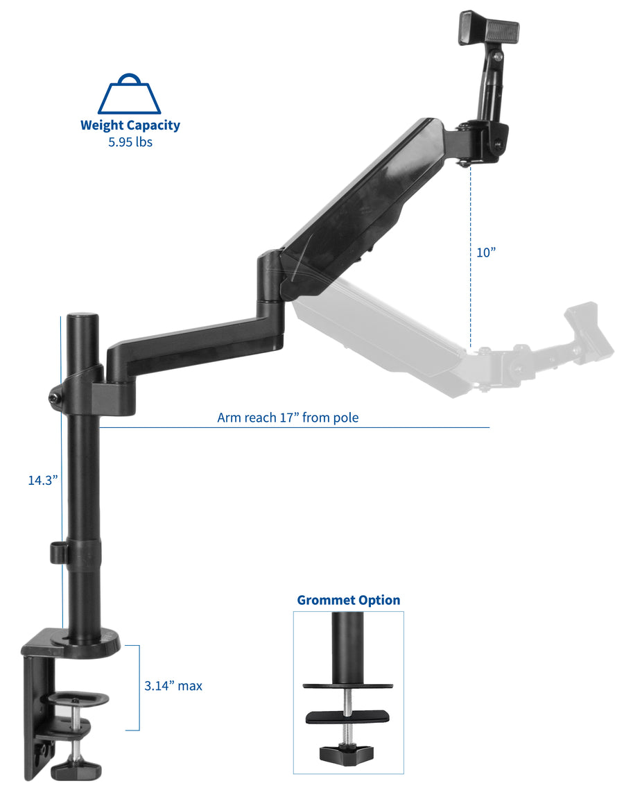 STAND-MIC01<br><br>Black Pneumatic Spring Microphone Mount