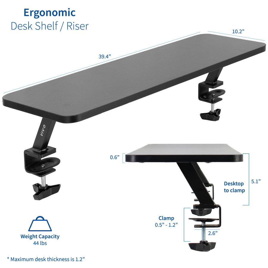 "STAND-SHELF40B <br><br>Clamp-on 40"" Shelf Monitor Riser"