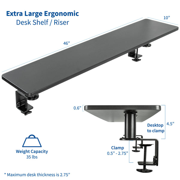"STAND-SHELF46B <br><br>Clamp-on 46"" Shelf Monitor Riser"