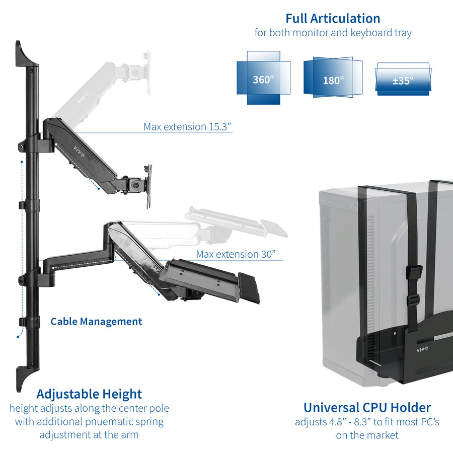STAND-SIT1BW  <br><br>Sit to Stand Single Monitor Wall Mount Workstation