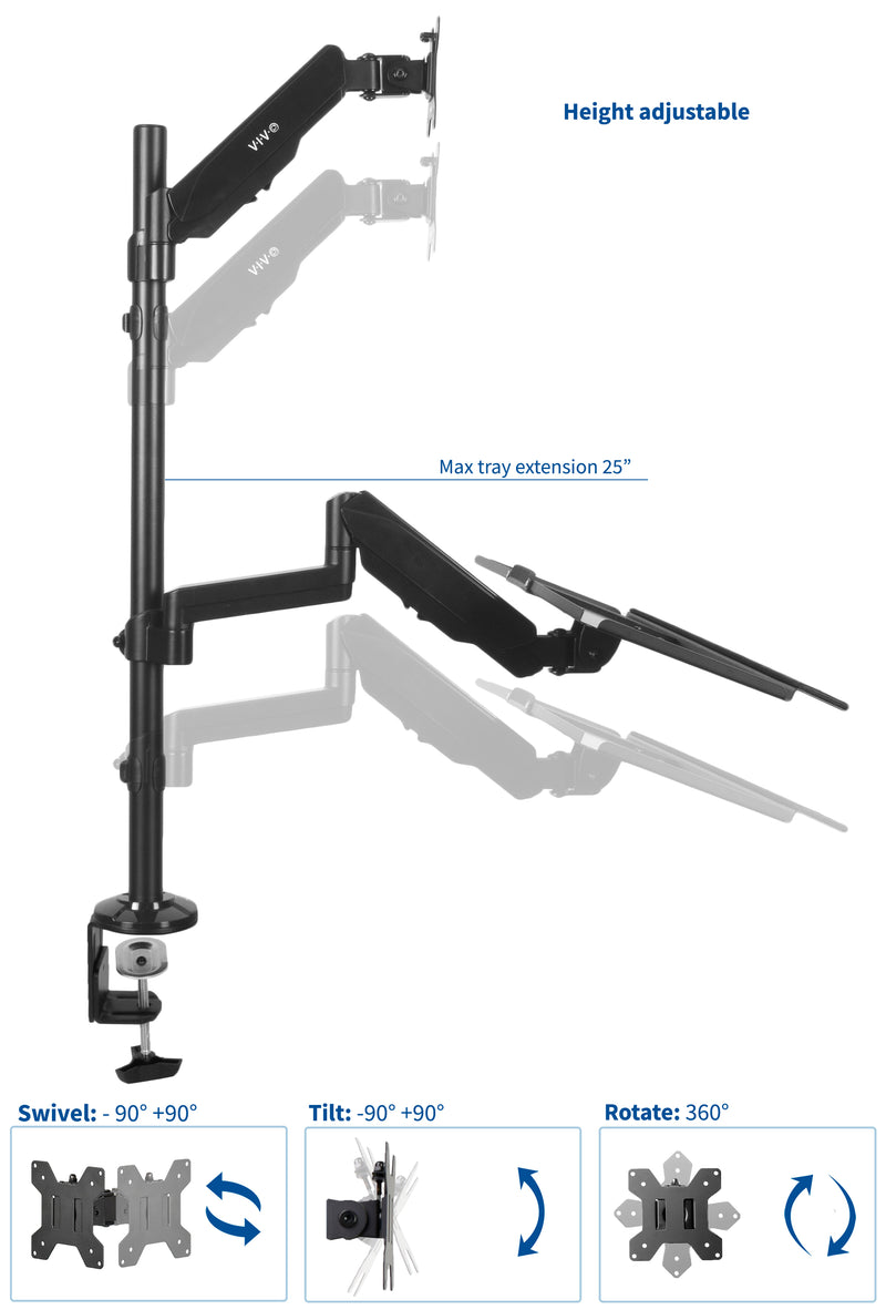 "Sit-Stand Height Adjustable Tension Spring Arm Keyboard Tray Desk Mount for 1 Screen up to 13"" to 32"""