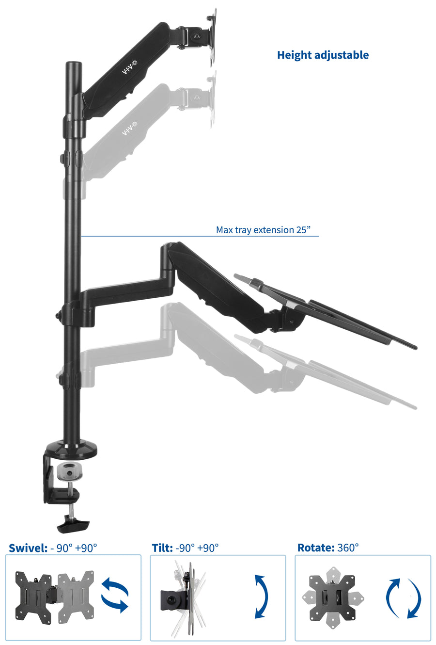 Sit-Stand Height Adjustable Tension Spring Arm Keyboard Tray Desk Mount for 1 Screen up to 13