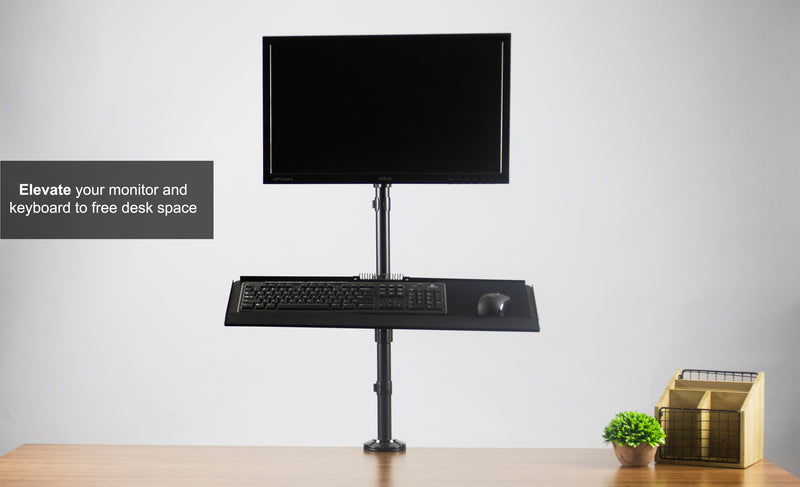 STAND-SIT1B  <br><br>Sit to Stand Single Monitor Desk Mount Workstation