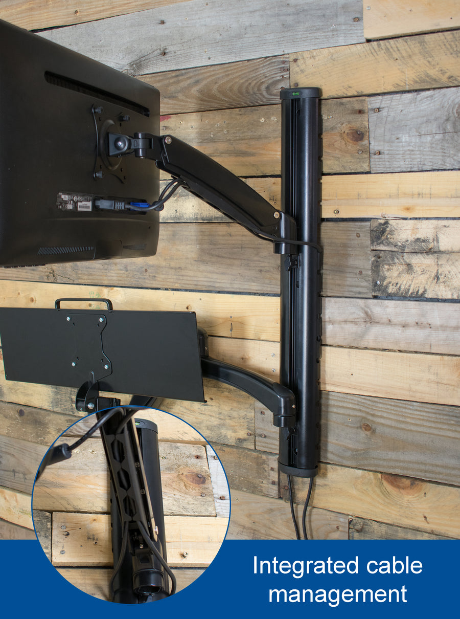 STAND-SIT1K <br><br>Sit to Stand Single Monitor Wall Mount Workstation