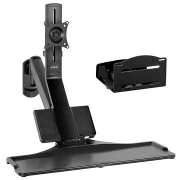 STAND-SIT1WD <br><br>Black Single Monitor Counterbalance Sit-Stand Wall Mount with Keyboard Tray and CPU Holder