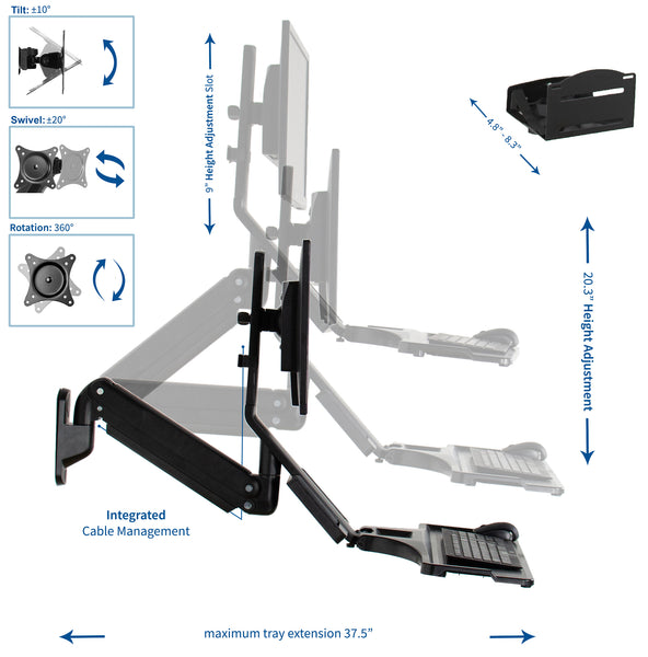 STAND-SIT1WD <br><br><span style=font-weight:normal;>VIVO Premium Black Single Monitor & Keyboard Counterbalance Sit-Stand Wall Mount and CPU Holder | Ergonomic Standing Transition Workstation </span>