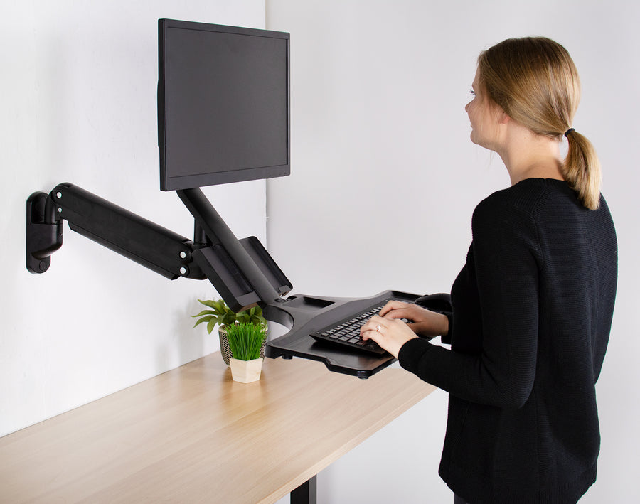 STAND-SIT1WD <br><br>Single Monitor Sit-Stand Wall Mount with Keyboard Tray and CPU Holder for 17