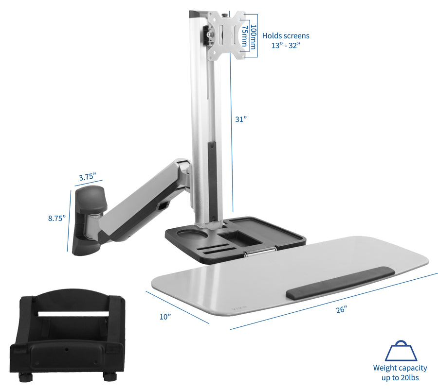 STAND-SIT1W <br><br>Single Monitor Counterbalance Sit-Stand Wall Mount for 13