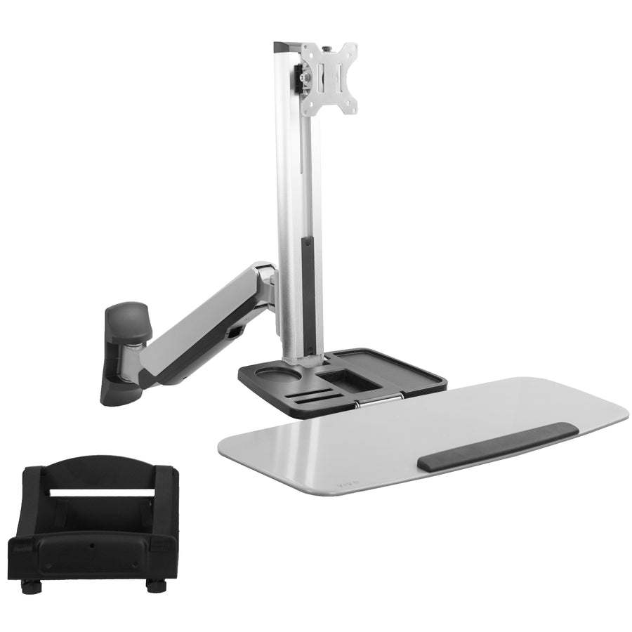 STAND-SIT1W <br><br>Sit to Stand Single Monitor Wall Mount Workstation - Silver