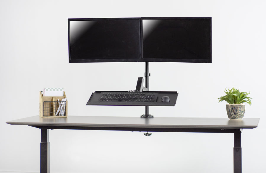 "STAND-SIT2B<br><br>Dual Monitor Pneumatic Spring Sit-Stand Desk Mount for 17"" to 32"" Screens"