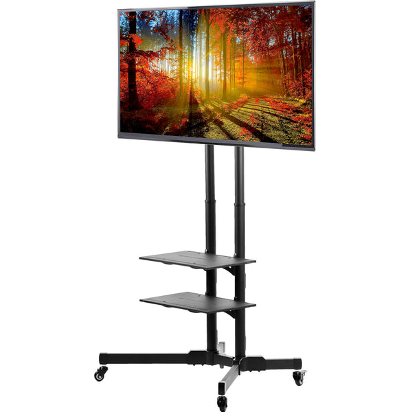 Black Mobile TV Cart