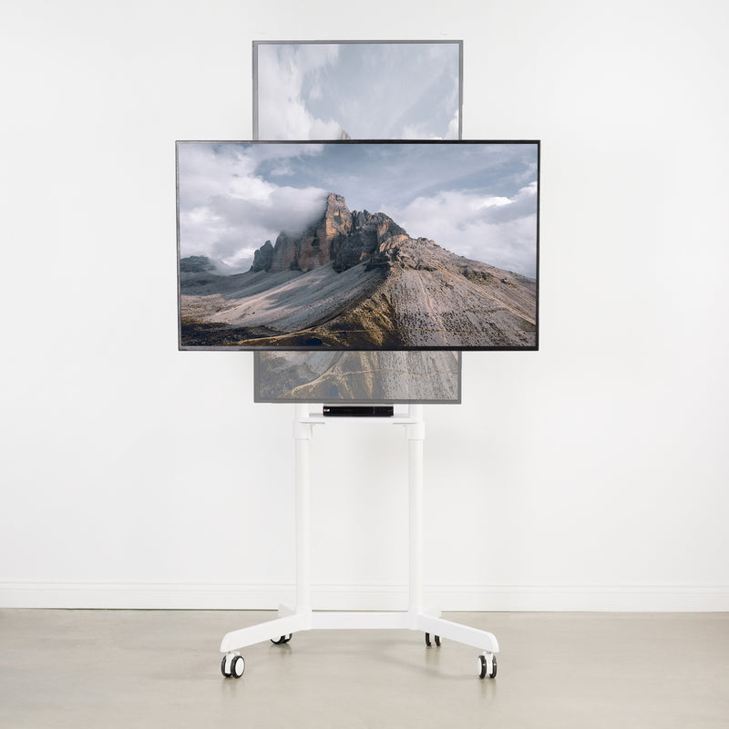 White Mobile Portrait to Landscape TV Cart