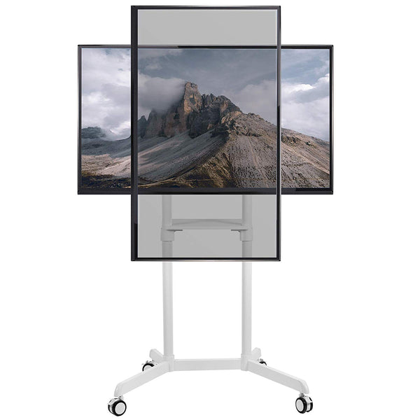 "STAND-TV02PW <br><br>White Mobile Portrait to Landscape TV Cart for 37"" to 70"" TVs"