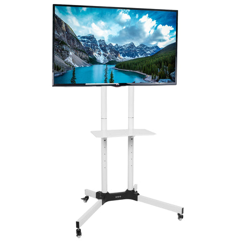 "STAND-TV03W <br><br><span style=font-weight:normal;> White Mobile TV Cart for LCD LED Plasma Flat Panels Stand with Wheels | fits 32"" to 65"" </span>"