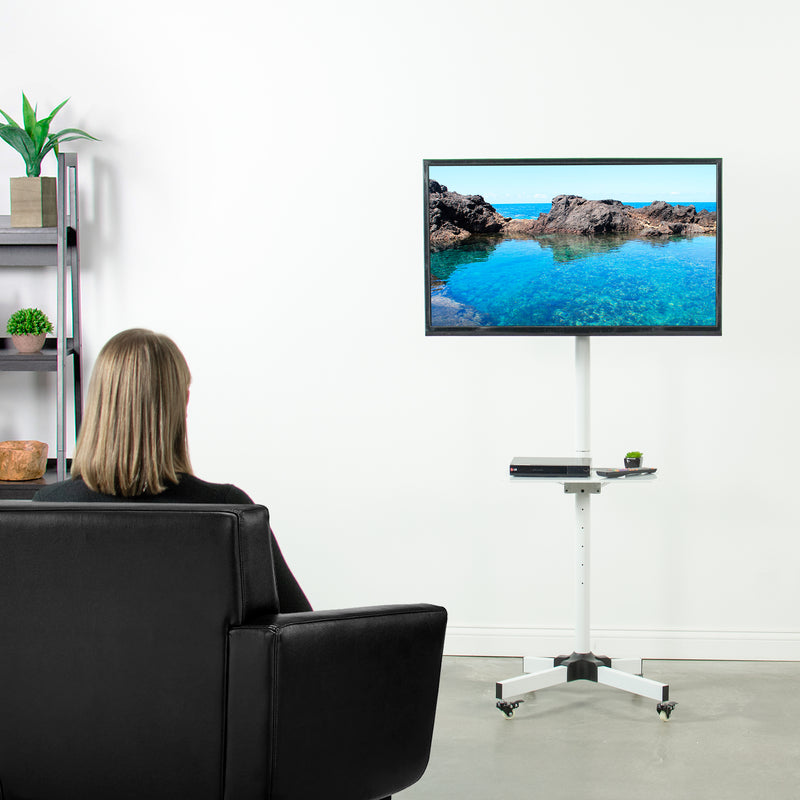 girl watching tv on White Mobile Cart