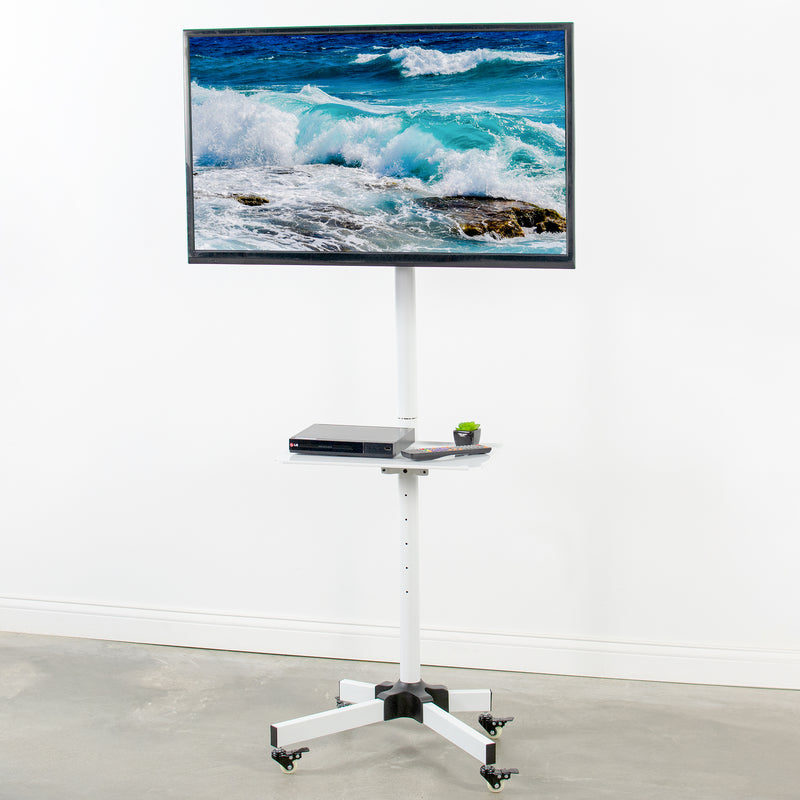 STAND-TV04MW <br><br>White Mobile TV Cart