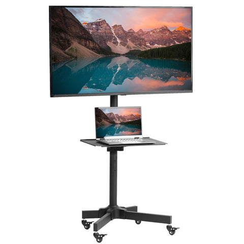 "STAND-TV04M <br><br><span style=font-weight:normal;> Mobile TV Cart for LCD LED Plasma Flat Screen Panel Trolley Floor Stand with Locking Wheels | Fits 23"" to 55"" </span>"