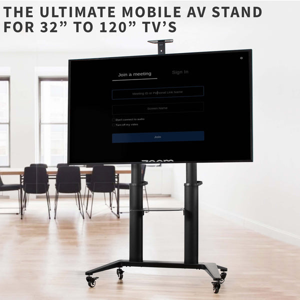 STAND-TV120B <br><br>Aluminum Mobile Large Screen TV Cart