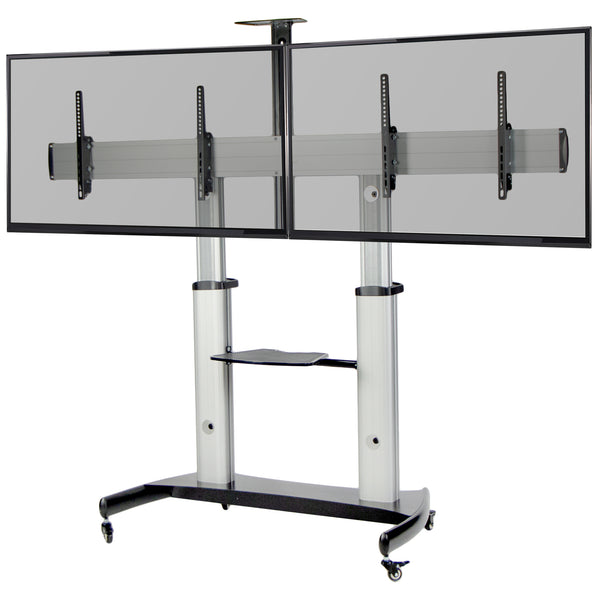 Silver Mobile TV Cart
