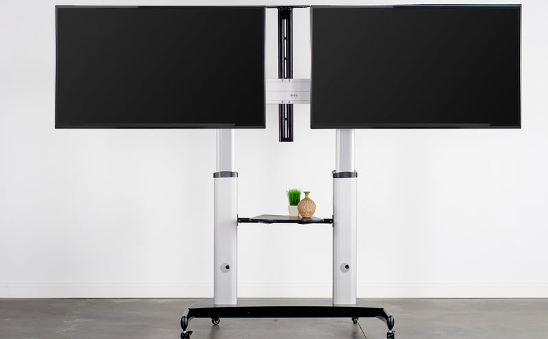 double Silver Mobile TV Cart