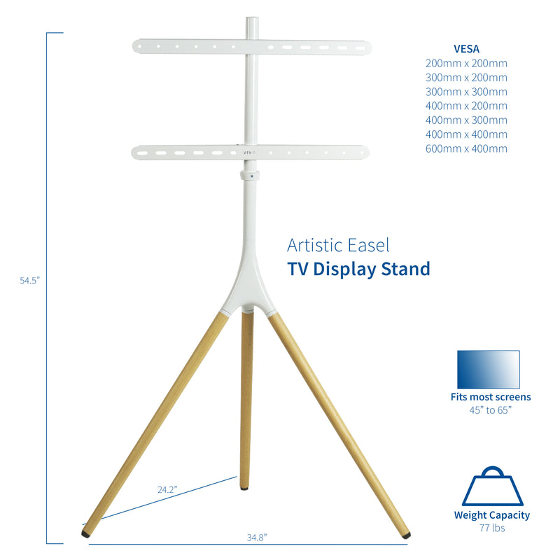 "STAND-TV65AW <br><br>White Easel Stand for 45"" to 65"" TVs"