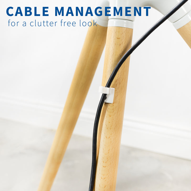 White Easel Studio TV Stand cable management