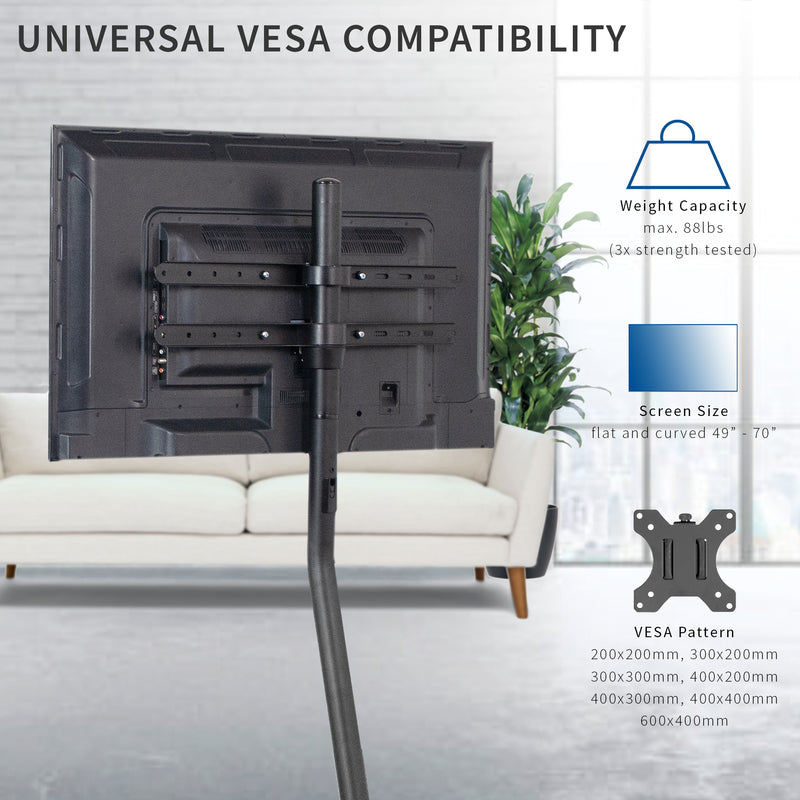 Black V-Base Studio TV Stand with universal vesa compatibility