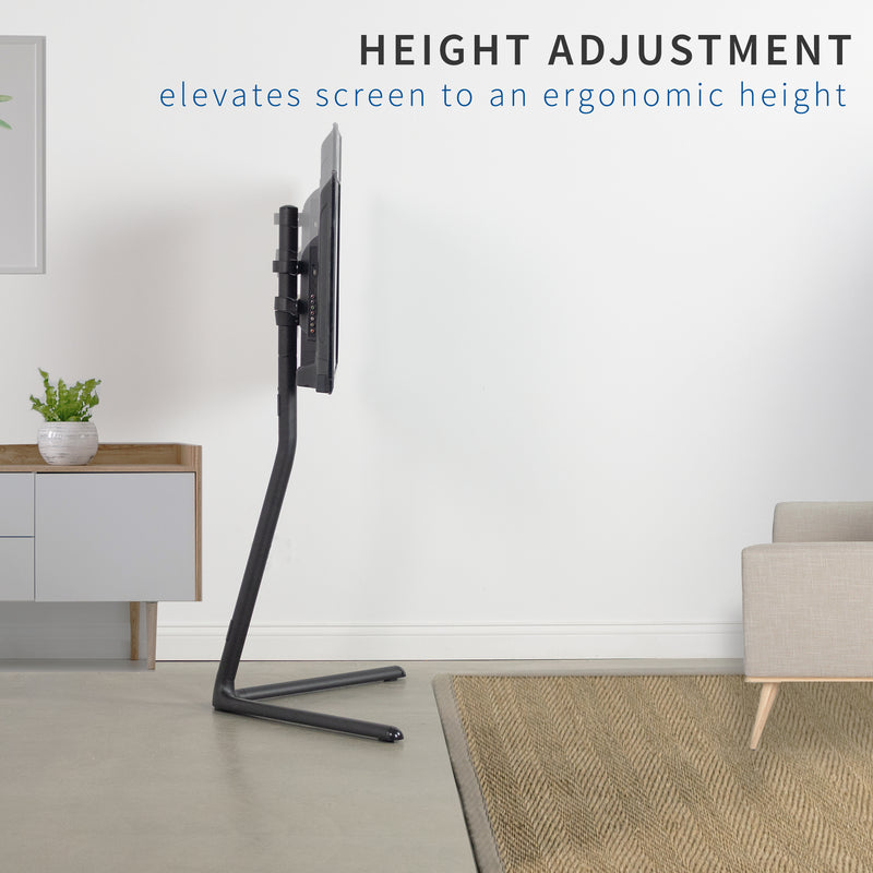 Black V-Base Studio TV Stand with height adjustment