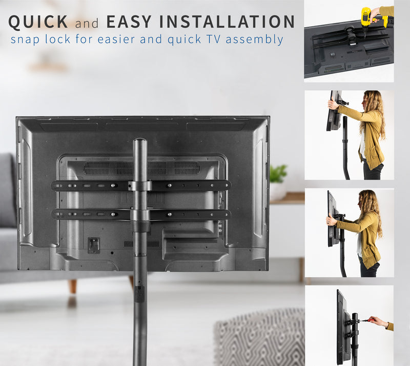 Black V-Base Studio TV Stand quick and easy installation