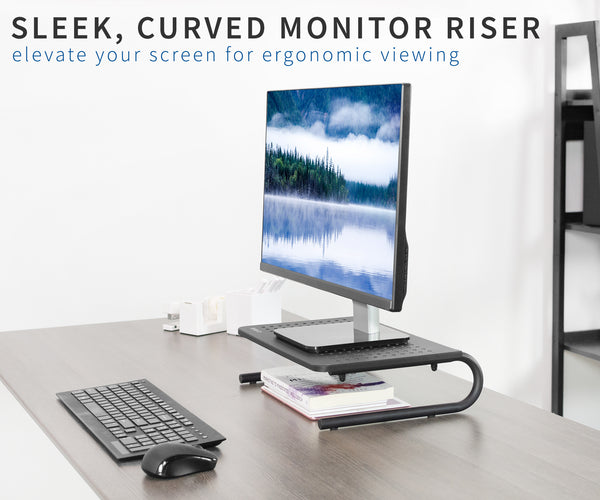 "15"" Vented Monitor Riser for ergonomic viewing"