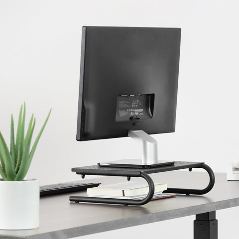 "STAND-V000E <br><br><span style=font-weight:normal;>Black Vented Metal Desktop Stand Ergonomic Monitor and Laptop Riser 14.5"" Sleek Platform </span>"