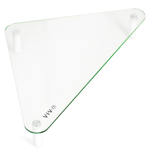 STAND-V000Q  <br><br><span style=font-weight:normal;>VIVO Glass Ergonomic Tabletop Riser | Triangle Desktop Universal Corner Stand for Computer Monitor & Laptop</span>