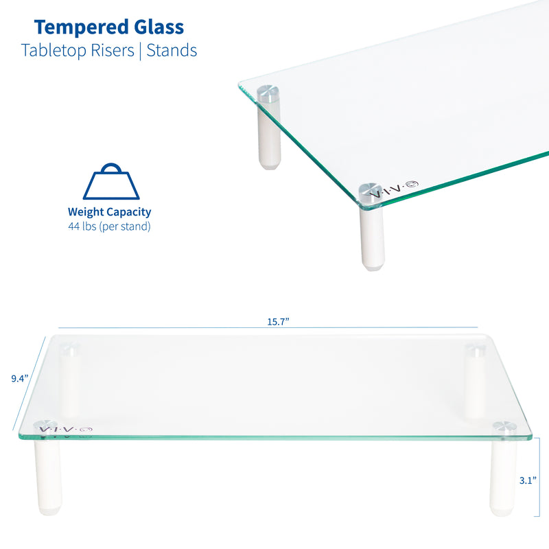 "STAND-V000TP  <br><br>16"" Glass Monitor Riser (x2)"