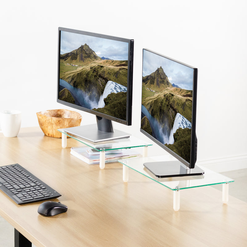 "two 16"" Glass Monitor Risers"