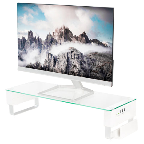 STAND-V000U  <br><br><span style=font-weight:normal;>VIVO Tempered Glass Surface Smart Computer Monitor & Laptop Riser Stand with USB Hub Audio Ports</span>
