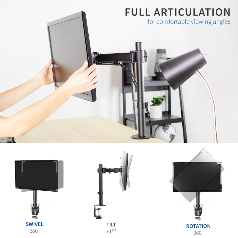Single Monitor Desk Mount full articulation