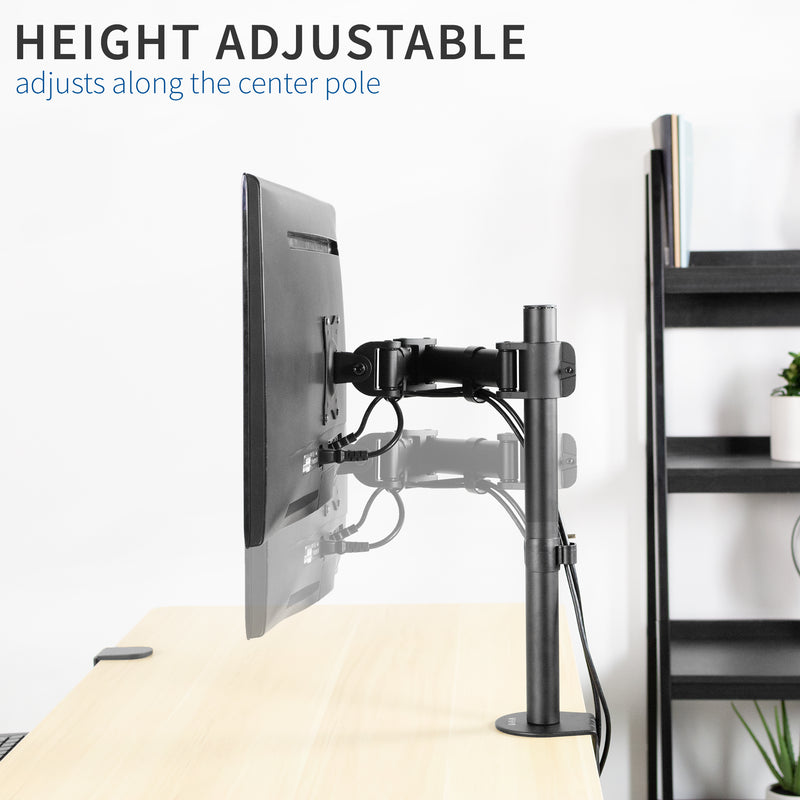Single Monitor Desk Mount height adjustable