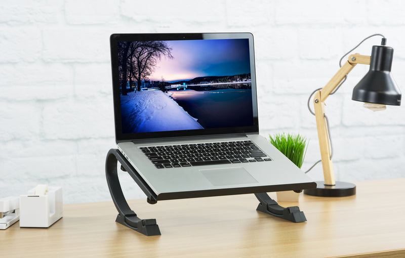 Black Laptop Desk Stand and lamp
