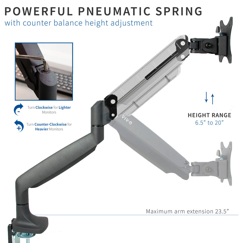 STAND-V001Q <br><br>Pneumatic Arm Single Monitor Desk Mount