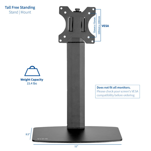 "STAND-V001V <br><br><span style=font-weight:normal;>Black Universal Free Standing Single Monitor Mount Desk Stand | Pneumatic Spring Height Adjustable Monitor Arm for Screens up to 32"" </span>"