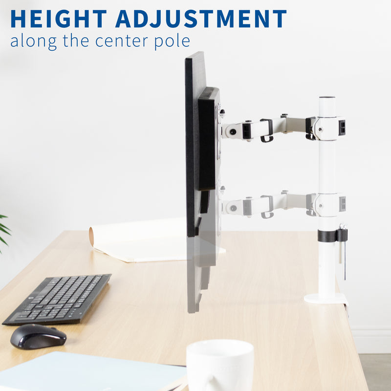 STAND-V001W<br><br>White Single Monitor Desk Mount