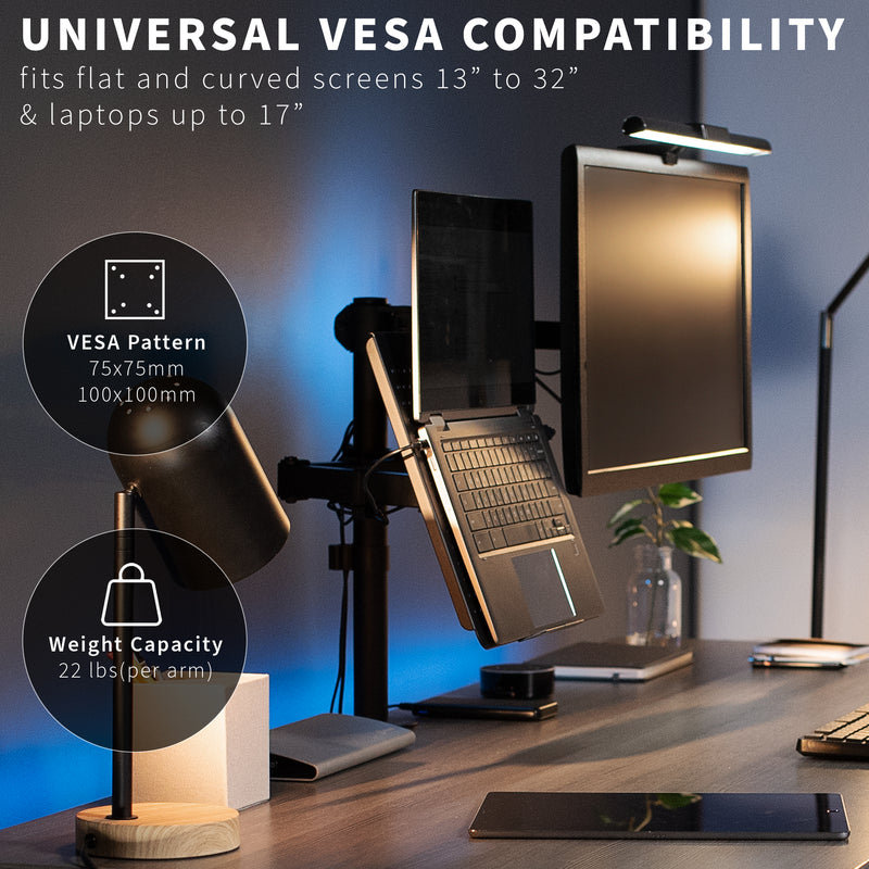 STAND-V002C <br><br>Single Monitor and Laptop Desk Mount