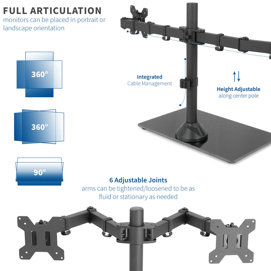 Black Dual Monitor Stand Adjustable Mount w/ Freestanding Glass Base - fits two Screens up to 13