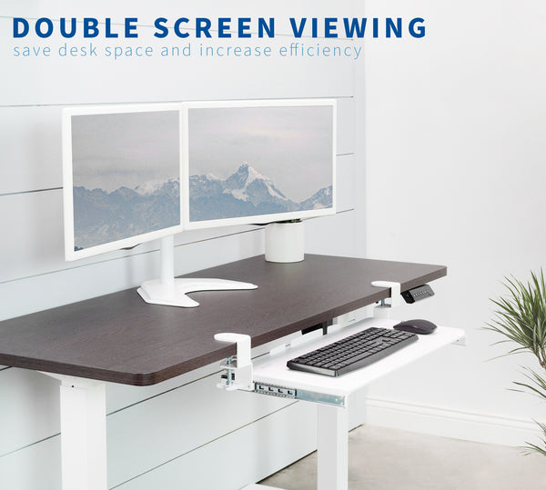 White Dual Monitor Desk Stand