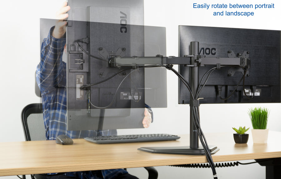 STAND-V002F <br><br>Black Dual Monitor Stand for Screens Up to 27