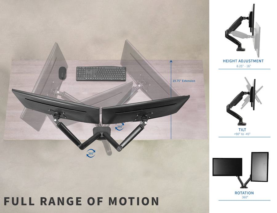 STAND-V002OU <br><br>Pneumatic Arm Dual Monitor Desk Mount with USB