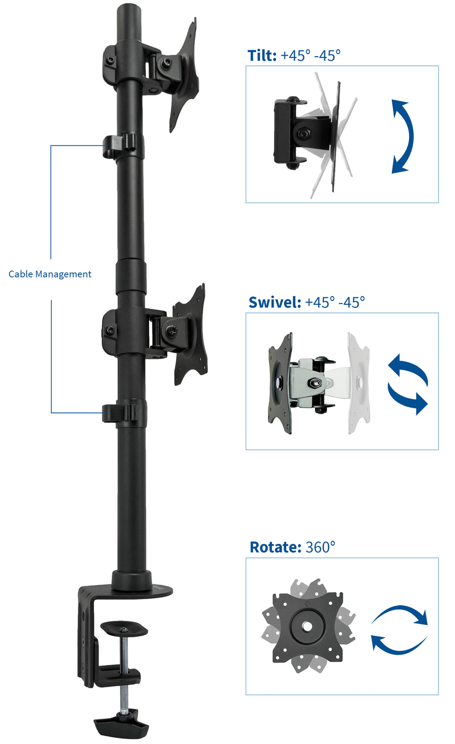 Stand V002r Dual Vertical Monitor Desk Mount Vivo Desk