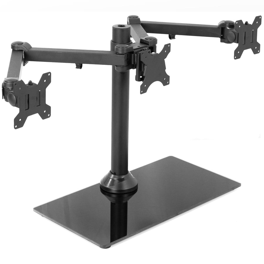 STAND-V003FG <br><br>Triple Monitor Desk Stand with Glass Base for 13